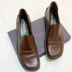 Prada Natural Bruciato Loafers